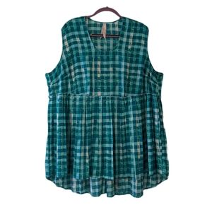 Green & blue plaid Melissa McCarthy top (3X fit)